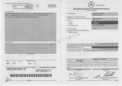 Certificat de conformité Européen COC