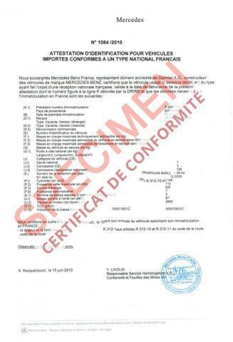 le certificat conformité européen ou COC est un document exigé pour l'immatriculation de la voiture en Préfecture