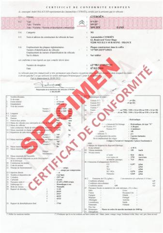 certificat de conformit citroen conformit europ en coc citroen. Black Bedroom Furniture Sets. Home Design Ideas