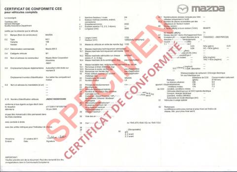 certificat conformit mazda id e d 39 image de voiture. Black Bedroom Furniture Sets. Home Design Ideas