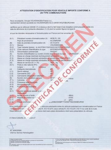 certificat de conformit volkswagen conformit europ en coc volkswagen. Black Bedroom Furniture Sets. Home Design Ideas