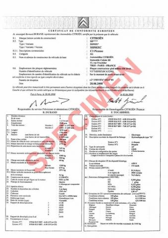 Le Certificat de Conformité certifie la réception ou l'homologation d'un véhicule
