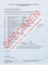 Certificat de Conformité Seat